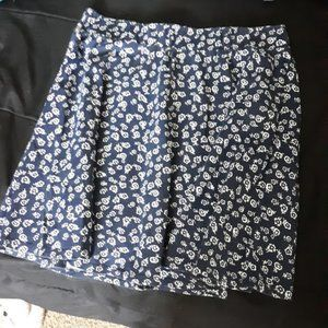 Wet Seal Freshman 1996 Floral Navy A-Line Skirt M